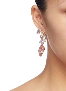 Anabela Chan 'Rose Garden Butterfly' diamond gemstone mismatched detachable drop earrings