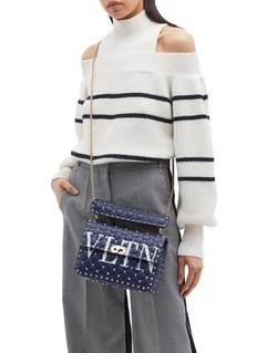 Valentino 'Rockstud Spike' medium logo print quilted leather crossbody bag