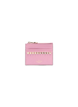 Main View - Click To Enlarge - VALENTINO - 'No Limit' Rockstud metallic leather card case