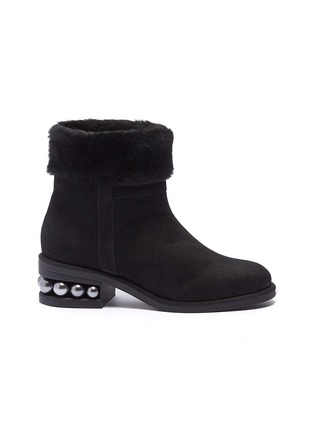 Main View - Click To Enlarge - Nicholas Kirkwood - 'Casati' faux pearl heel shearling ankle boots