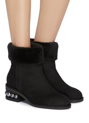 Figure View - Click To Enlarge - Nicholas Kirkwood - 'Casati' faux pearl heel shearling ankle boots