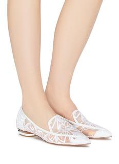 Nicholas Kirkwood 'Beya' floral embroidered metal heel mesh skimmer loafers