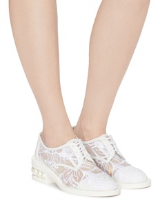 Nicholas Kirkwood 'Casati' faux pearl heel floral embroidered mesh Derbies