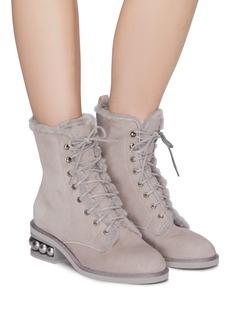 Nicholas Kirkwood 'Casati' faux pearl heel shearling combat boots
