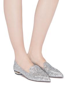 Nicholas Kirkwood 'Beya' metal heel coarse glitter skimmer loafers