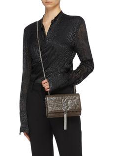 SAINT LAURENT 'Kate' tassel croc embossed leather crossbody bag