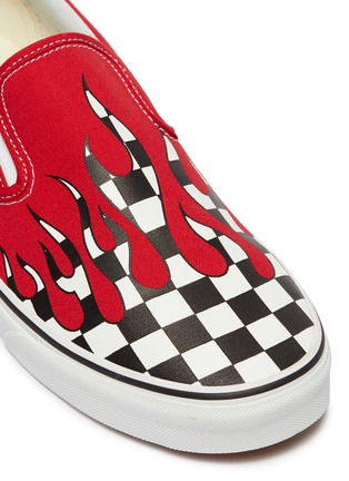 Detail View - Click To Enlarge - VANS - 'Classic Slip-On' checkerboard flame canvas skates