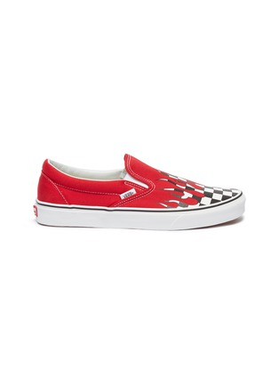 Main View - Click To Enlarge - VANS - 'Classic Slip-On' checkerboard flame canvas skates