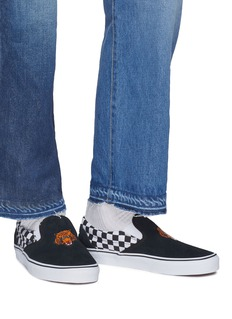 Vans 'Classic Slip-On' tiger embroidered checkerboard panel suede skates