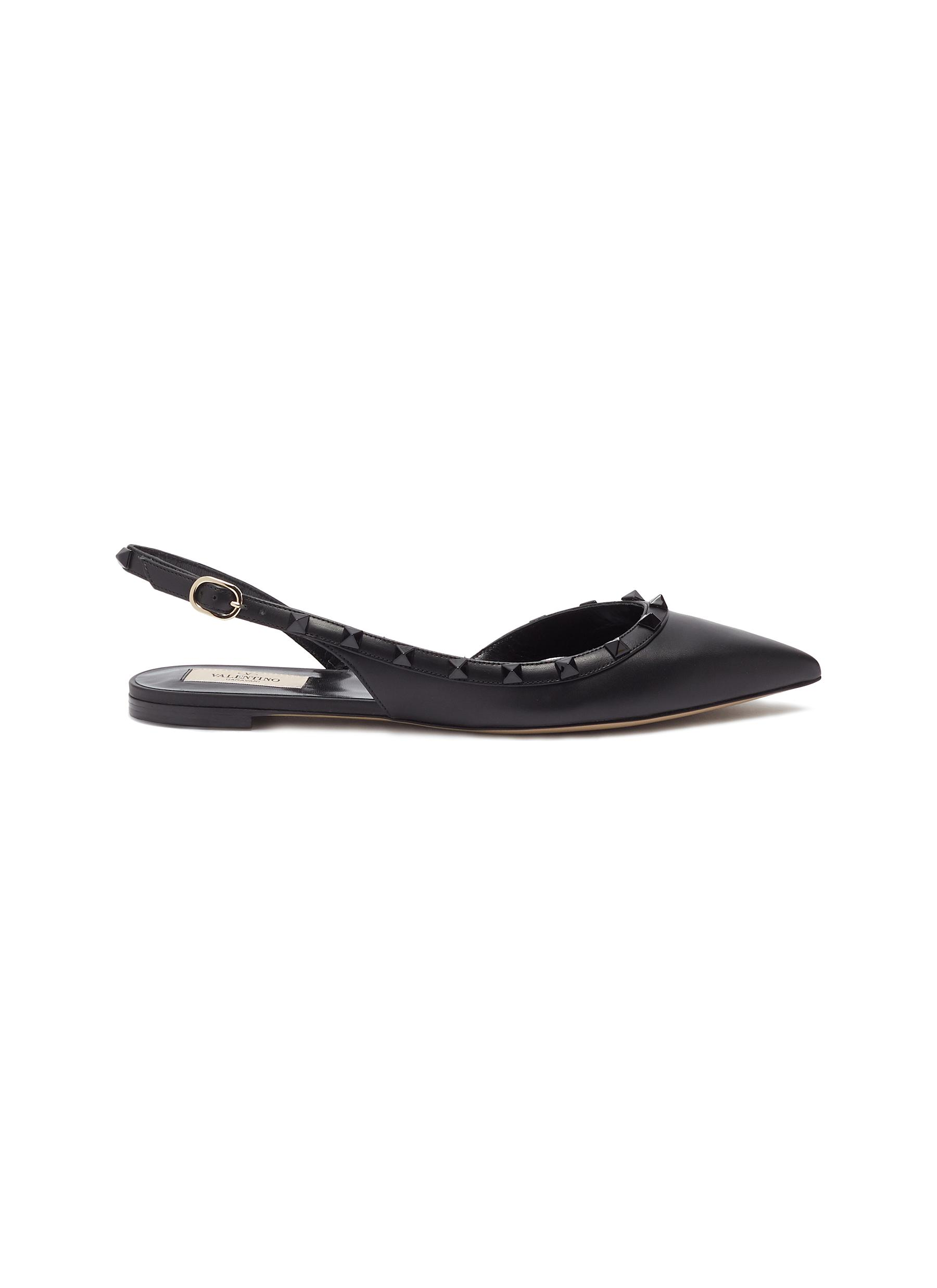 Rockstud leather slingback skimmer flats by Valentino