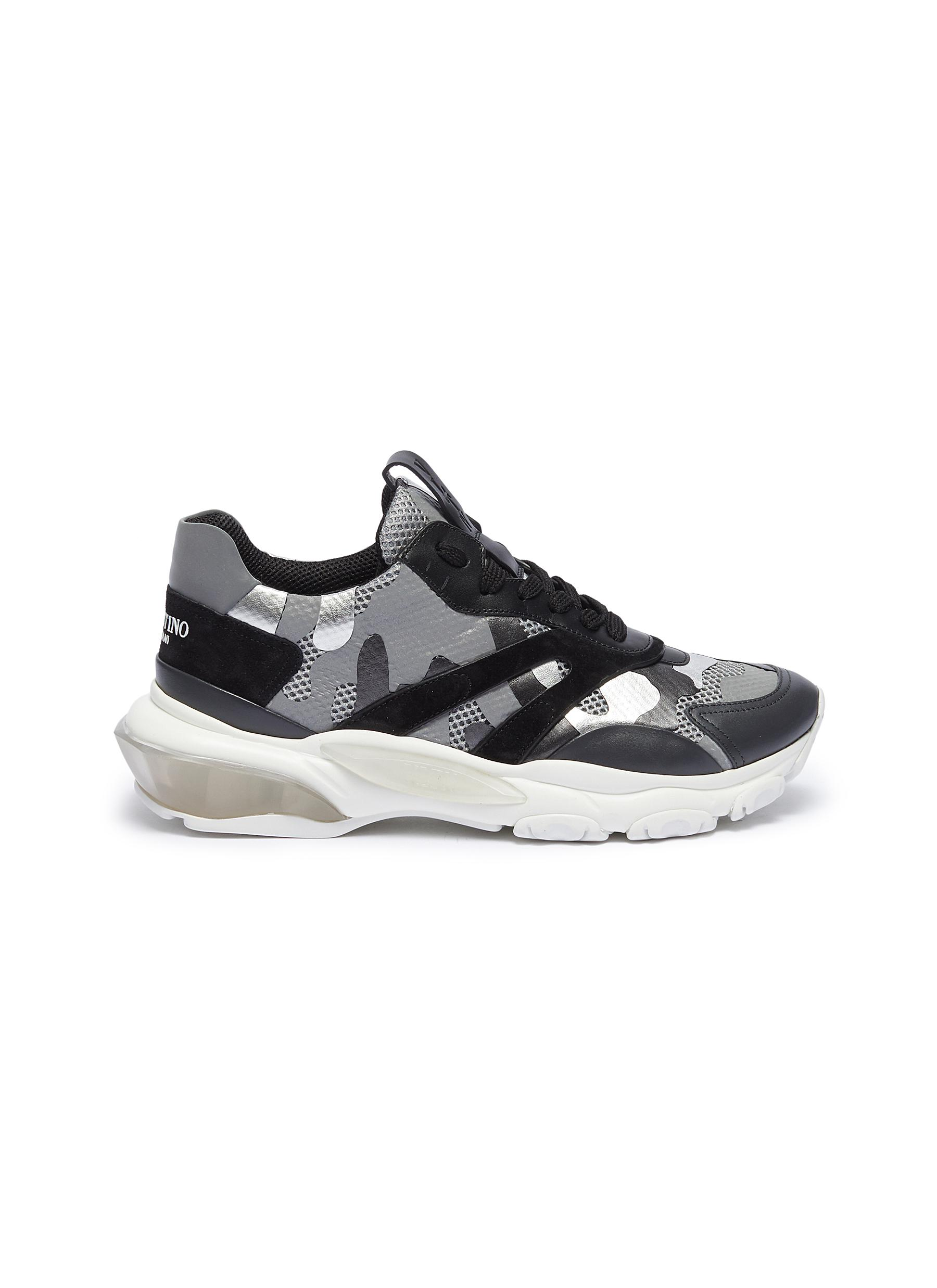 Chunky outsole camouflage print mesh sneakers by Valentino