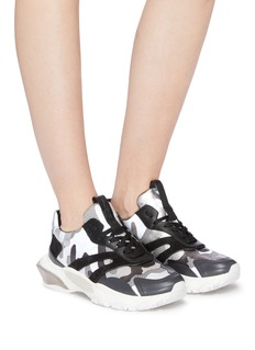 Valentino Chunky outsole camouflage print mesh sneakers