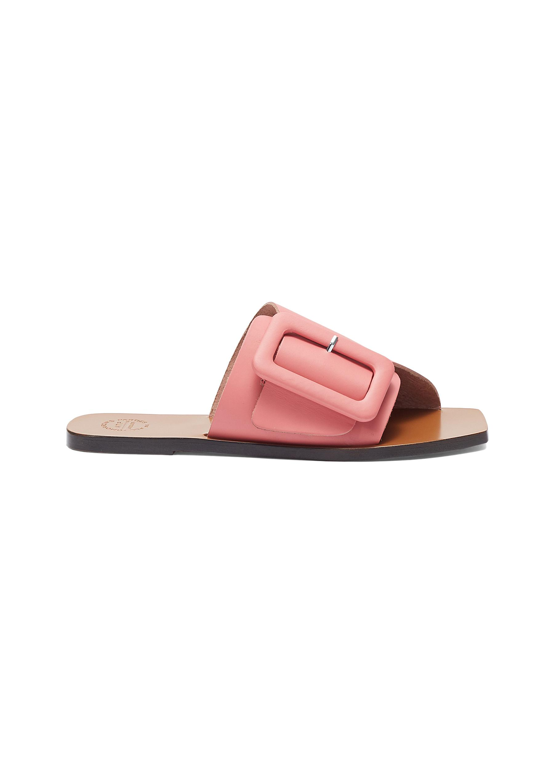 Atp Atelier 'Ceci' Buckled Leather Slide Sandals In Confetti