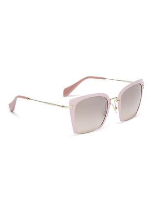 Figure View - Click To Enlarge - MIU MIU - Cutout acetate front metal square sunglasses