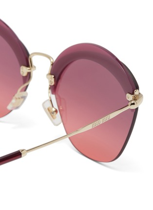 Detail View - Click To Enlarge - Miu Miu - Layered browline rimless angular sunglasses
