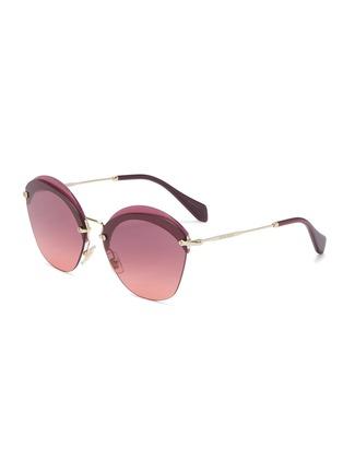 Main View - Click To Enlarge - Miu Miu - Layered browline rimless angular sunglasses