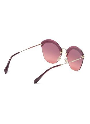 Figure View - Click To Enlarge - Miu Miu - Layered browline rimless angular sunglasses