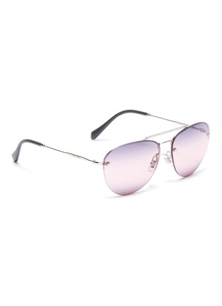 a4d6bdfd466 Figure View - Click To Enlarge - Miu Miu - Strass browbar metal aviator  sunglasses