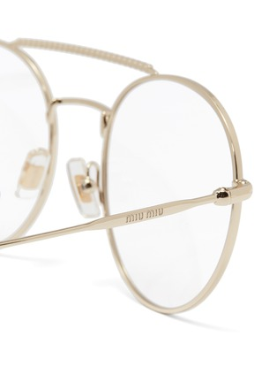 Detail View - Click To Enlarge - Miu Miu - Strass brow bar metal round optical glasses