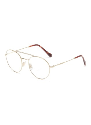 Main View - Click To Enlarge - Miu Miu - Strass brow bar metal round optical glasses