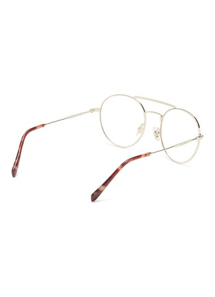 Figure View - Click To Enlarge - Miu Miu - Strass brow bar metal round optical glasses