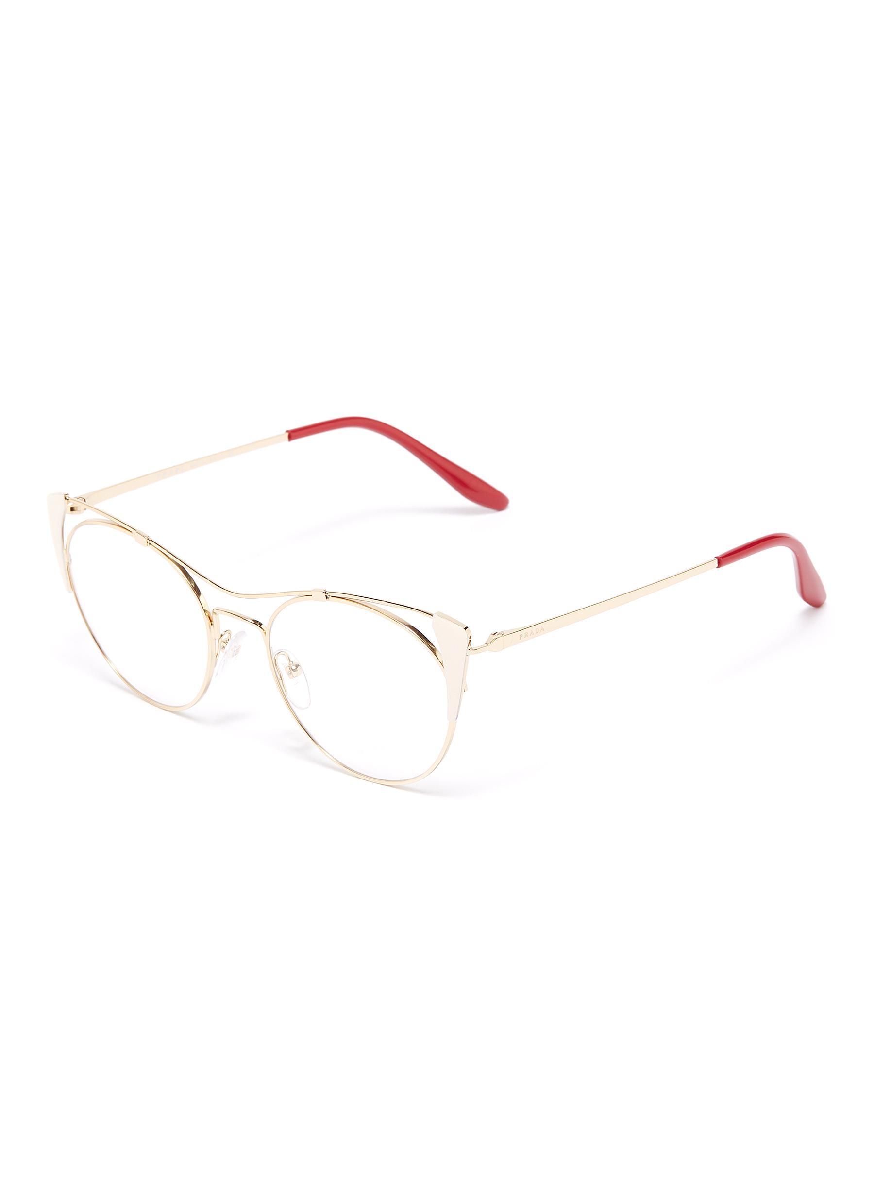 56b07cf5e9e97 Main View - Click To Enlarge - Prada - Cutout metal cat eye optical glasses