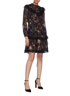 Needle & Thread 'Cosmic Forest' ruffle lace floral print tiered dress