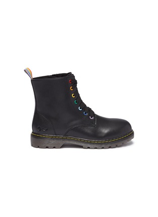 Main View - Click To Enlarge - WINK - 'Cookie' leather kids combat boots