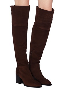 aeyde 'Kit' panelled suede knee high boots