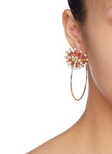 Anton Heunis Swarovski pearl glass crystal flower hoop earrings