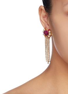 Anton Heunis Swarovski pearl glass crystal curtain fringe drop earrings