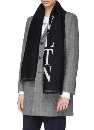 Figure View - Click To Enlarge - VALENTINO - Logo jacquard wool-silk scarf