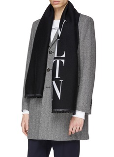Valentino Logo jacquard wool-silk scarf
