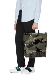 Valentino Logo patch camouflage print tote bag