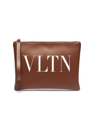 Main View - Click To Enlarge - VALENTINO - Valentino Garavani Logo print leather zip pouch