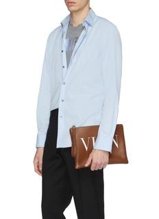 Valentino Logo print leather zip pouch