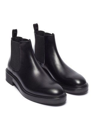 Detail View - Click To Enlarge - VALENTINO - Logo print leather Chelsea boots