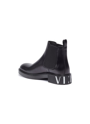 - VALENTINO - Logo print leather Chelsea boots