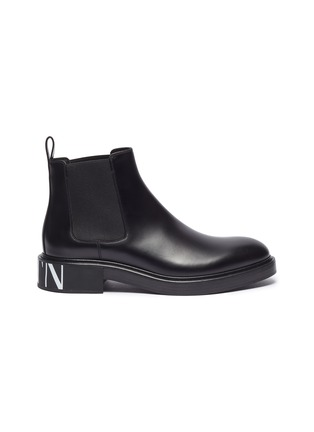 Main View - Click To Enlarge - VALENTINO - Valentino Garavani Logo print leather Chelsea boots