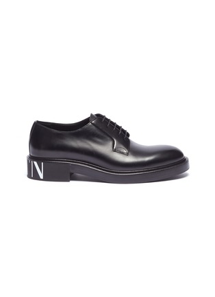 Main View - Click To Enlarge - Valentino - Logo print heel leather Derbies