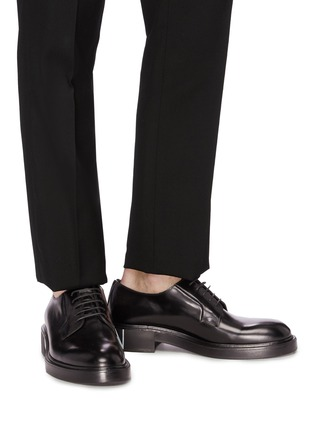 Figure View - Click To Enlarge - VALENTINO - Logo print heel leather Derbies