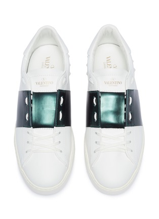 Detail View - Click To Enlarge - VALENTINO - 'Open' colourblock leather sneakers