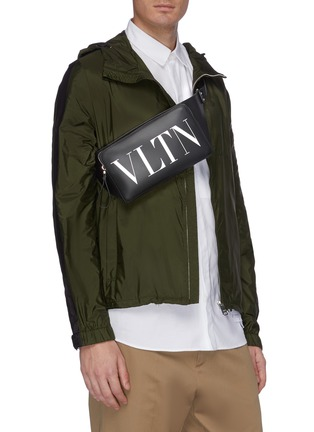 Figure View - Click To Enlarge - VALENTINO - Logo print leather bum bag