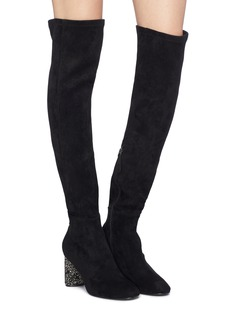 Pedder Red 'Gibbs' embellished heel suede thigh high boots