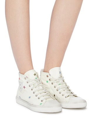 Figure View - Click To Enlarge - SAINT LAURENT - 'Bedford' star print canvas high top sneakers