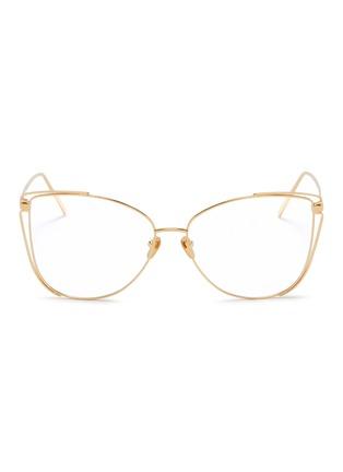 1cac1e36005a Linda Farrow Cutout corner metal oversized cat eye optical glasses ...