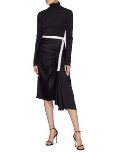 Christopher Esber Contrast waist gathered drape skirt