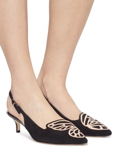 Sophia Webster 'Bibi Butterfly' wing embroidered suede slingback pumps