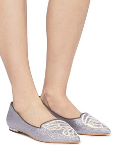 Sophia Webster 'Bibi Butterfly' wing embroidered glitter flats
