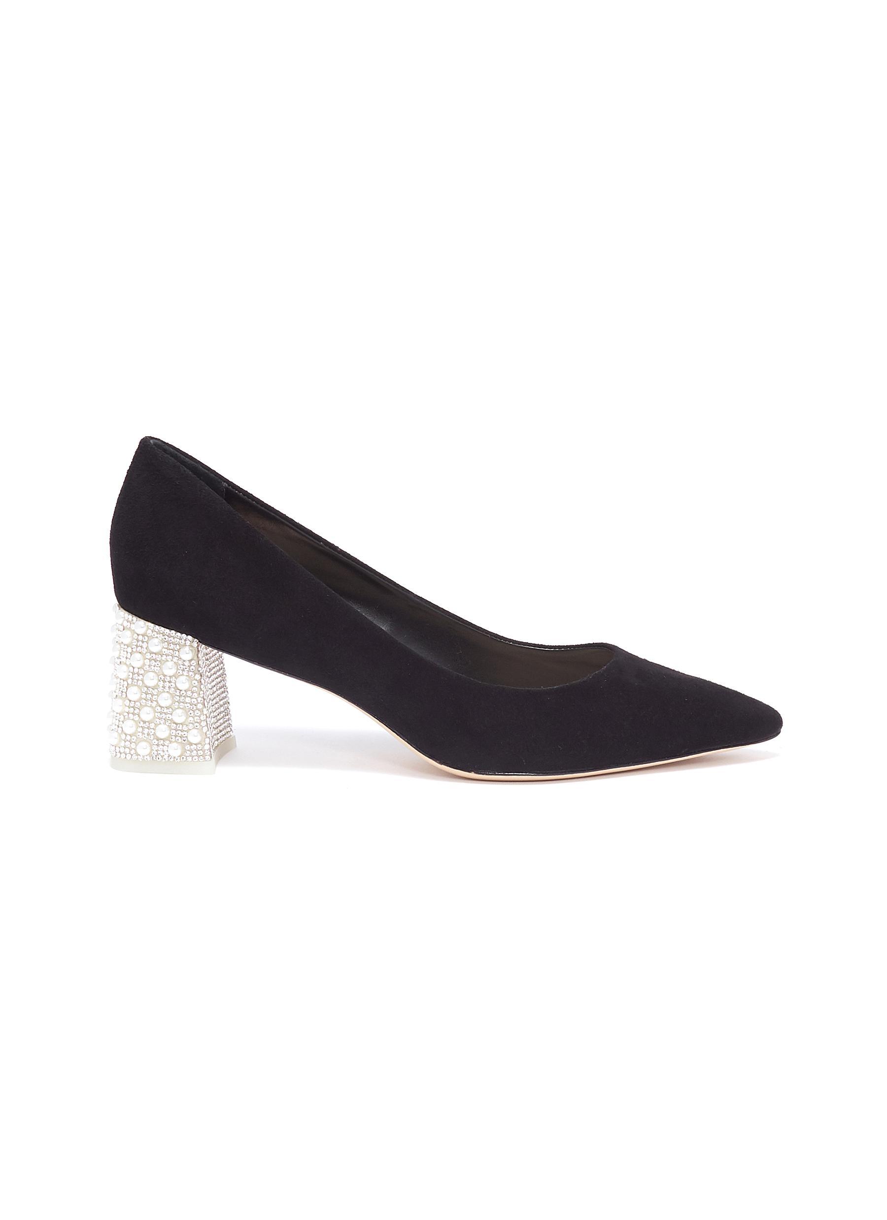 Sophia Webster Mid Heels Amber embellished heel suede pumps